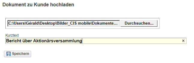 SAP mobile Funktionen Dokument hochladen